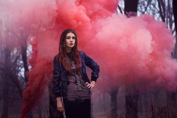Съемка в парке с дымовыми шашками