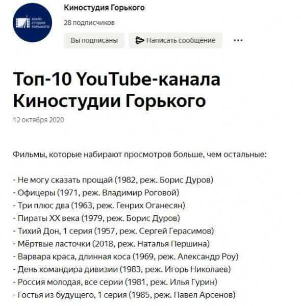 Очень интересный канал на дзене. Для тех кто любит советские фильмы.